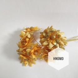 Fabric Glitter Flowers - Yellow (Pack of 12)