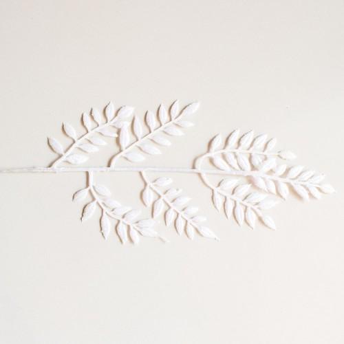 Glitter Leaves- White (Pack of 3)