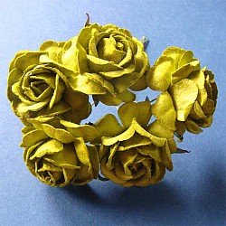 Mulberry Paper Roses (Large) - Green (Pack of 5 roses)