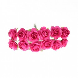 Mulberry Paper Roses - Bright Pink (Pack of 24 roses)