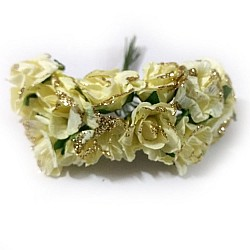 Glittered Paper Roses - Lemon Yellow (Pack of 12 roses)