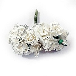 Glittered Paper Roses - White (Pack of 12 roses)