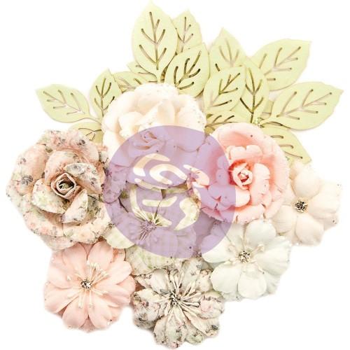 Prima Marketing Fabric Flowers - Enchanted/Poetic Rose, 14/Pkg