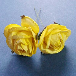 Mulberry Paper Roses (Extra Large) - Yellow (Pack of 5 roses)