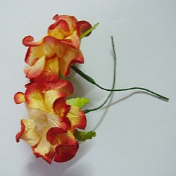 Curled Flowers (Large)  - Yellow and Red (A pack of 5 flowers)