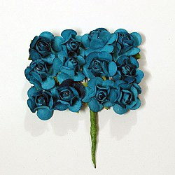 Mulberry Paper Roses - Turquoise (Pack of 24 roses)