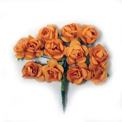 Mulberry Paper Roses - Orange (Pack of 24 roses)