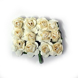 Mulberry Paper Roses - Cream (Pack of 24 roses)
