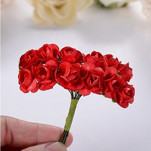 Mulberry Paper Roses - Red (Pack of 24 roses)