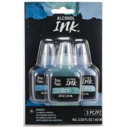 Brea Reese Alcohol Inks 20ml 3/Pkg - Lake Blue/Ocean Green/Sky