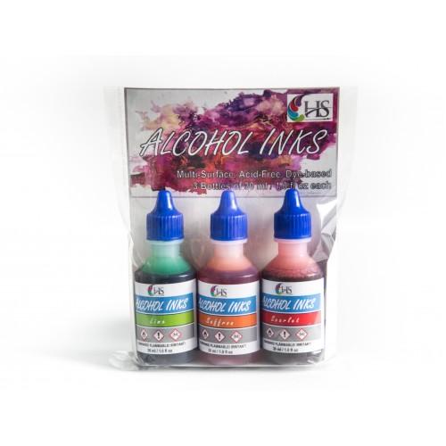 HS Alcohol Inks - Set 4 (Lime, Saffron and Scarlet)