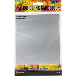 """Tim Holtz Alcohol Ink Cardstock 5""""X7"""" 10/Pkg - Brushed Silver"""