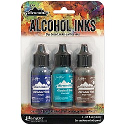 Tim Holtz Earth Tones Alcohol Inks - Mariner (Pack of 3)