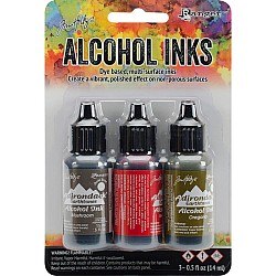 Tim Holtz Earth Tones Alcohol Inks - Tuscan Garden (Pack of 3)