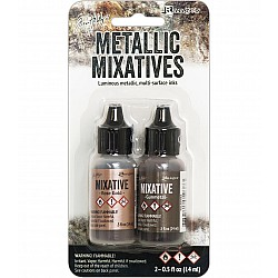 Tim Holtz Alcohol Ink Metallic Mixatives - Rose Gold and Gunmetal