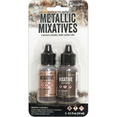 Tim Holtz Alcohol Ink Metallic Mixatives - Rose Gold and Gunmetal
