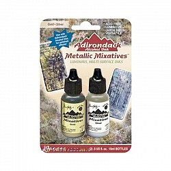 Tim Holtz Alcohol Ink Metallic Mixatives - Gold and Silver